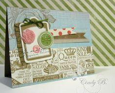 Shopping Around wheel makes a unique vintage background. by Cindy Beach stampspaperandink.typepad.com