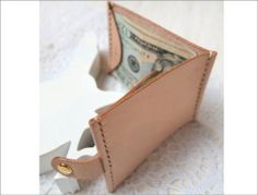 Handstitched Personalized Leather Money Clip Wallet