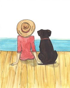 print of an original watercolor that I did for a friend and her dog. comes matted to frame. Miss My Dog, Me And My Dog, Girl And Dog, Dog Drawing Simple, Girl Drawing Easy, Paintings I Love, Dog Paintings, Watercolor Paintings, Poodle Drawing