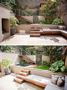 13 Multi-Level Backyards To Get You Inspired For A Summer Backyard Makeover // This yard may be small but the multiple levels make it feel larger. im garten naturstein 13 Multi-Level Yards To Get You Inspired For Backyard Makeover! Terrasse Design, Patio Design, Exterior Design, Wall Design, Wall Exterior, Terrace Garden Design, Courtyard Pool, Garden Seating, Window Design