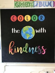 Color the world with kindness bulletin board World Bulletin Board, Rainbow Bulletin Boards, Inspirational Bulletin Boards, Kindness Bulletin Board, Colorful Bulletin Boards, Elementary Bulletin Boards, Library Bulletin Boards, Bulletin Board Display, Neon Classroom Decor