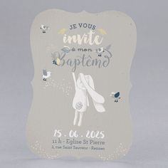 faire-part de Baptême Bunny grey : , dans la catégorie Cup Design, Cute Illustration, Stampin Up, Place Card Holders, Invitations, Watercolor, Inspiration, Logo, Photography