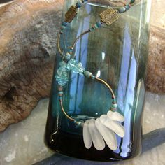 White sea glass and apatite fabulous necklace by IrisDesignSeaglass