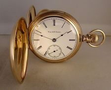 "ANTIQUE ELGIN ""THE R.W.SEARS"" 10k GOLD FILLED HUNTER CASE 18s POCKET WATCH 1887'"