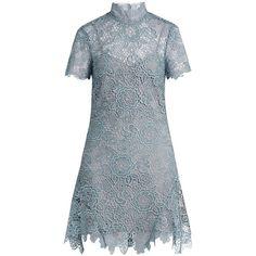 Self-portrait Peep-back floral-lace mini dress ($410) ❤ liked on Polyvore featuring dresses, light blue, floral mini dress, short dresses, floral dresses, mini dress and blue lace dress