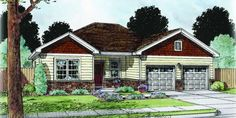 Ranch Home Design - Roanoke Shown With Optional Stone And Garage Doors With Glass. Square Feet of Living Area Brick Building, Building Design, Building A House, Custom Home Builders, Custom Homes, Garage Design, House Design, Brick And Wood, Ranch House Plans
