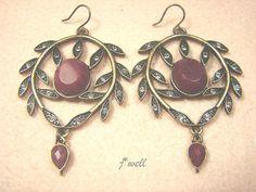 J-WELL DESIGNER JEWELRY RED GEMSTONE GOLD HOOP CRYSTAL LEAF WOMEN HOOK EARRINGS