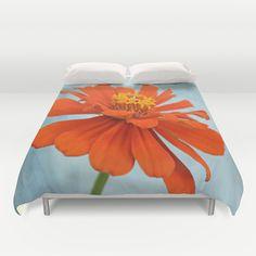 Orange Zinna Duvet Cover