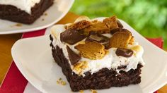 Marshmallows, graham crackers and chocolate bars marry with fudgy brownies for s'more great taste.