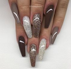 61 Coffin Gel Nail Designs For Fall 2018 The season will soon be changing into fall. A new season means new fashion and beauty trends. Fall is all about a mixture of warm, cool and dark colors. One of the easiest ways to wear these new autum. Cute Acrylic Nails, Cute Nails, My Nails, Long Nails, Fabulous Nails, Gorgeous Nails, Stylish Nails, Trendy Nails, Nagellack Design