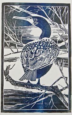 Cormorant Woodblock by Jackie Curtis