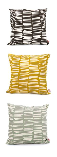 Skinny laMinx cushion covers in the 'Woodpile' design. Available in our store at 201 Bree Street, Cape Town and Online.