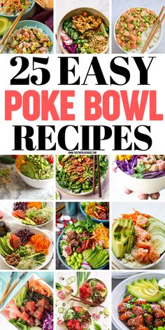 25 Delicious Easy Poke Bowls Are looking for some super delicious, gorgeous and easy Poke bowl inspiration? Here are over 20 crazy delicious poke bowls that offer up a healthy meal in a snap. Cheap Clean Eating, Clean Eating Snacks, Healthy Eating, Healthy Food, Healthy Meals, Bowl Restaurant, Poke Recipe, Asian Recipes, Healthy Recipes