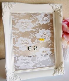 DIY Jewelry Holder |  picture frame, staple fabric on backside of frame, covering the cut-out.  Make sure fabric is taut.