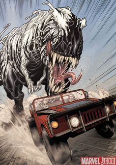 T-Rex with a Symbiote chasing Hawkeye and Wolverine in the Spider-Buggy.  This happend. Old Man Logan.