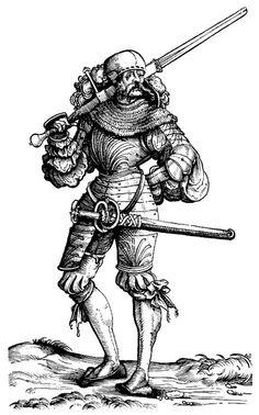 Landsknecht in Armour, first half of 16th century. Probably a Doppelsöldner. http://mailmaker.tripod.com/armor/munition/bil1520n.jpg