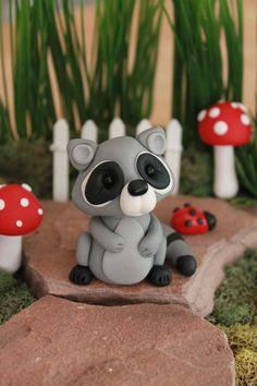 Polymer Clay Raccoon Miniature Raccoon Mini Clay от GnomeWoods