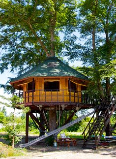 Sanbu Bokujo Treehouse: Japan - The World's Coolest Treehouses for Your Next Vacation Cabins In The Woods, House In The Woods, My House, Cheap Tiny House, Building A Treehouse, Cool Tree Houses, Log Homes, Tiny Homes, Play Houses