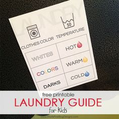 Teaching your kids how to do laundry this summer? Use this free printable laundry guide in your laundry room!  Kids will always remember what water temperature to set the washer!