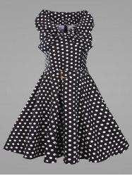 #AdoreWe #Gamiss Gamiss Polka Dot Plus Size Vintage Flare Dress with Belt - AdoreWe.com