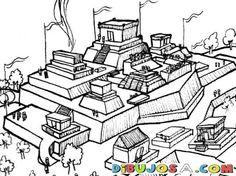 Dibujo De Ciudad Maya Para Pintar Y Colorear | COLOREAR MAYAS | Dibujo De Ciudad…