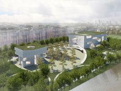 Visualización con el entorno. Centro Cultural y de Salud en Shanghai por Steven Holl Architects. Imagen Cortesía de Steven Holl Architects.