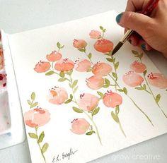 Peach Watercolor Flowers original watercolor painting coral #watercolorarts