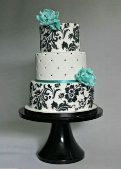 Beautiful black, white, and aqua cake. Starting a Catering Business Start your own catering business http://www.startingacate...