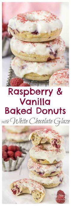 Raspberry & Vanilla Baked Donuts with White Chocolate Glaze