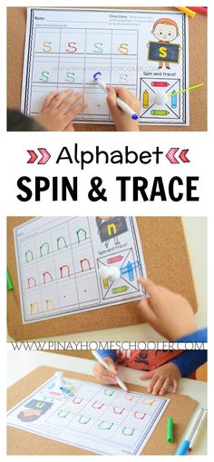 Spin and trace writing letter practise #preschool #writing #literacy #finemotorskills #kidsactivities #printables
