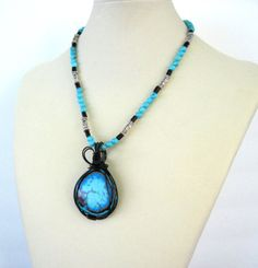 Mexican Rainbow Calsilica Wire Wrapped by MissBusyBeeJewelry, $55.00