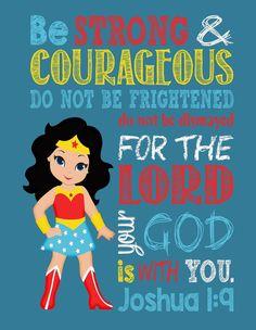 Super Hero Wall Art Christian Print Wonder Woman by PixiePaperSTL