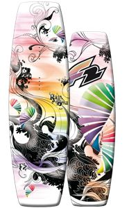 The new F2 Rainbow is equipped with the latest technology, yet on the wakeboard market. This board is especially made for girls who like challenging jumps and prefer a proper flex.     A forgiving cross-over board which can ride behind the boat, without loosing energy & response, and still rocks the coolest  obstacles.