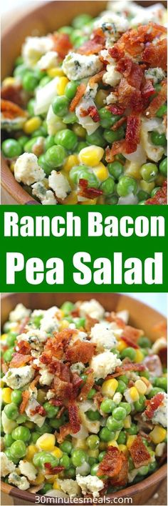 Creamy Ranch Bacon Pea Salad with sweet corn, is the perfect summery side dish. Made with creamy ranch, lots of blue cheese and delicious, crispy bacon. #sidedish #peasalad #salad