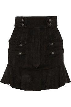 Isabel Marant Elena ruffled suede mini skirt | NET-A-PORTER