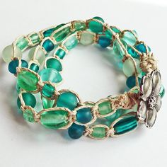 Beach wrap bracelet, clever! I have lots of large glass beads