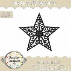 Estrela Tribal, Estrela, Tribal Star, Tribal, Star, Céu, estrelas, stary, estrelado, arquivo de recorte, corte regular, regular cut, svg, dxf, png,  Studio Ilustrado, Silhouette, cutting file, cutting, cricut, scan n cut.
