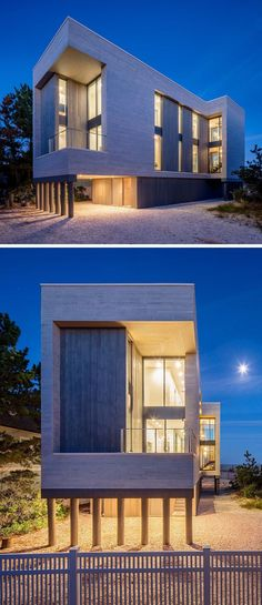 At Night This Modern Beach House Is Lit Up Like A Lantern With Vertical  Windows Allowing