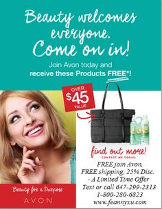 FREE sign up, FREE shipping, 25% Discount for your Christmas shopping and receive $45 FREE Avon products for C26! This is the last chance to join Avon and save on your own order before Christmas!! Message me, text or call 647-299-2313 or visit www.feannyxu.com I am happy to let you know that I decided to try Avon in April 2004!! grin emoticon #AvonCanada #joinAvon #workfromhome #selfemployed #job #nolayoffs #cosmetics #BeautyforaPurpose #FREEDOM #DreamBig