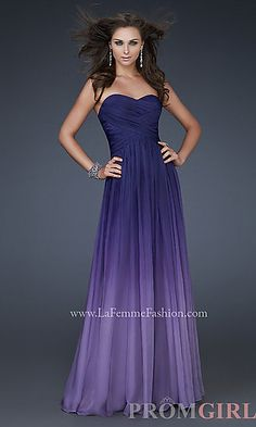 Long Strapless Ombre Gown by La Femme 17004 at PromGirl.com go to the page and look at the blue one it is sooo pretty