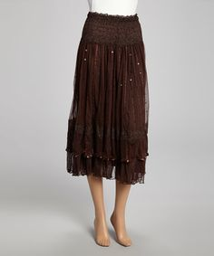 This Coffee Sequin Lace Silk-Blend Midi Skirt by Pretty Angel is perfect! #zulilyfinds