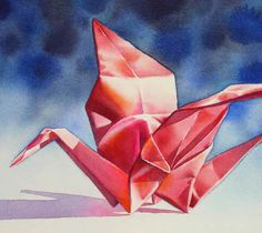 FLIGHT OF FANCY origami crane still life watercolor painting