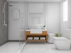 The minimalism of the QuickDrain ProLine with Cosmo Cover gives any wet room a sleek design that you can't resist. Bathroom Remodeling Contractors, Interior Rendering, 3d Rendering, Shower Drain, Interior Design Companies, Contemporary Interior Design, Commercial Interiors, Storage Spaces, Toilet