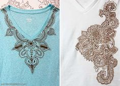 You can draw through stencils to make designs on t-shirts! DIY Henna inspired tee shirts using Tee Juice Pens