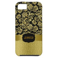 Monogram Gold And Black Damasks And Glitter 4 iPhone 5/5S Cases