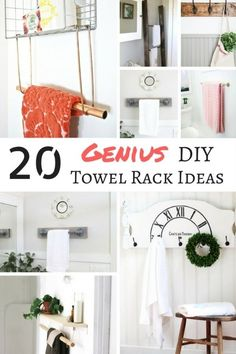 These DIY towel rack ideas are genius! Find the perfect one for your bathroom! | bathroom storage | bathroom organization | bathroom makeover | bathroom ideas | towel storage | towel racks