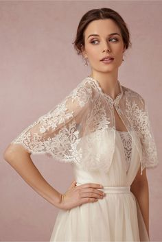 Get The Look At Any Budget: Wedding Dress Capelets & Coverups:   Chantilly Lace Capelet