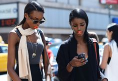Spring '14 New York Fashion Week Street-Style Photos by Tommy Ton - Orange Matte Lip