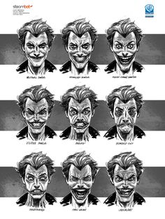 Batman: Arkham Origins concept art The faces of the Joker Joker Batman, Joker Y Harley Quinn, Joker Art, Batman Art, Batman Concept Art, Batman Room, Joker Comic, Gotham Batman, Comic Book Characters