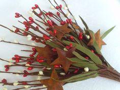Leafy Pip Berry Pick - Stem w/ Rusty Stars, Red & Cream Crafts Primitive #Unbranded